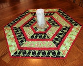 Christmas Quilted Table Runner, Hexagon Table Quilt, Jennifer Heynen Holiday Fabric - Red Green White, Reindeer, Trees, Candy Canes