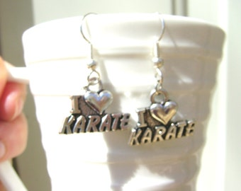 SALE Karate I Love Karate Martial Arts Heart Earrings Jewelry Bruce Lee Canadian Handmade Original Design©