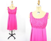 1960s dress vintage 60s hot pink latttice bodice mod mini party dress M