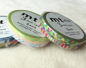 mt Washi Masking Tape - mt Slim 3mm - Pop / Pastel / Art