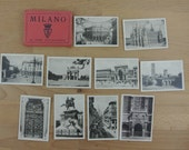 Vintage Pack of Milan Italy Black and White Souvenirs Photographs Mini Postcards x 20 in Paper Folder