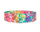 Water Color Flower Fabric Belt - Ladies Custom Sizes Small Medium Large - Preppy D Rings Women's Belts - 1.5 inch Width