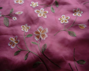 Beautiful Embellished/Embroidered Silk Fabric - Recycled