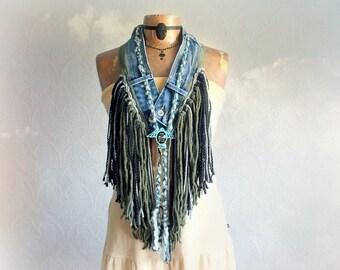 Fringed Tribal Scarf Women's Coachella Clothing Green Boho Necklace Bohemian Festival Upcycled Jeans Braided Jewelry Shaggy Fringe 'RICKIE'