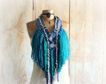 Country Girl Fringe Necklace Chic Bohemian Scarf Western Clothing Angel Wing Jewelry Upcycle Jean Art To Wear Boho Gypsy Scarf Cowgirl Rodeo