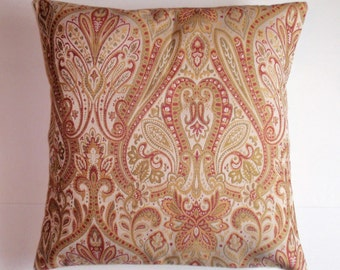 "Throw Pillow Cover, Ornate Tapestry in Gold Cream & Red Throw Pillow Cover, Traditional Paisley Toss Pillow, Cushion Cover, 18x18"" Pillow"