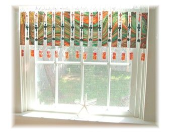 Splashy Artglass with BEADS OOAK  Stained Glass Window Treatment Valance Curtain