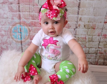 Applique Bow Initial Outfit for Baby Girl---Bow-tique Baby Collection---Shocking Pink, Light Pink, Apple Lime Green