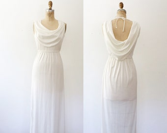 vintage maxi dress / 70s maxi dress / White Canyon dress