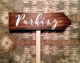 Rustic Directional Wedding Sign ( parking, ceremony, bus stop, reception, dancing, restrooms, cocktails, photobooth )
