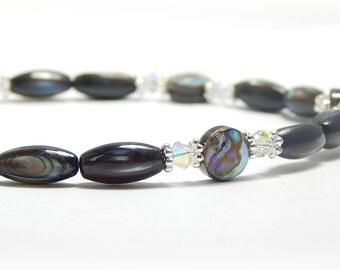 Swarovski Crystal Anklet, Abalone Anklet, Shell Ankle Bracelet, Shell Anklet, Sterling Silver Anklet, Adjustable Anklet for Women