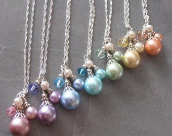 Spring Pastel Bridesmaid Necklaces Beaded Pearl Cluster Necklace Custom Colors Wedding Jewelry Spring Weddings Pastel Easter Jewelry Sets