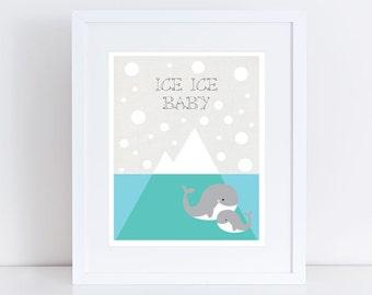 iceberg and whale nursery art print, ice ice baby, snow arctic, kids room decor, playroom children sea animal, boy, girl, ocean, mom & baby