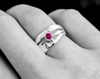 Ruby Ring, Ruby Corundum Organic Sterling Silver Ring, Recycled Silver Stacking Ring, Gift Idea, July Birthstone Ring, Elementisle