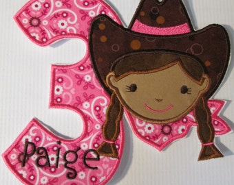Cowgirl Birthday - Iron On or Sew On Embroidered Custom Made Applique