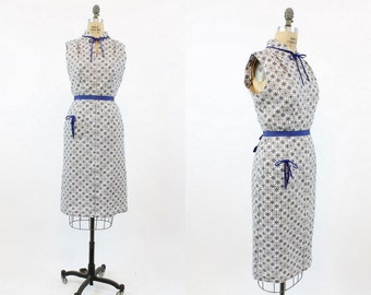 40s Dress Cotton Medium / 1940s Vintage Midi Length Wiggle Dress / Texas Rose Dress