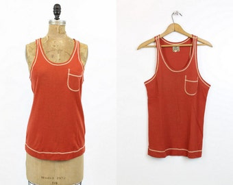60s Alvin Duskin Top Small - Medium / 1960s Vintage Brick Red Tank / San Francisco Blouse