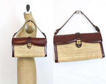 60s Purse Wicker Seagrass Handbag / 1960s Vintage Leather Purse / Zenith Purse