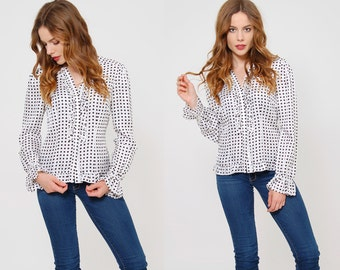 Vintage 80s POLKA DOT Blouse RUFFLE Button Down Top Hipster Top