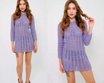 Vintage 60s Purple KNIT Dress OPEN Knit Mini Dress Long Sleeve Crochet Hippie Dress Wool Sweater Dress Knit Tunic Dress