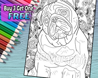 Pug - Adult Coloring Book Page - Printable Instant Download