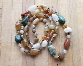 Vintage semi precious stone necklace,semi precious stone necklace,stone necklace,jade,malachite,carnelian,agate,jasper,quartz