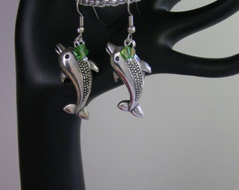 Personalized Dolphin Earrings- Birthstone Earrings- Choose Silver or Hypoallergenic Ear Wires