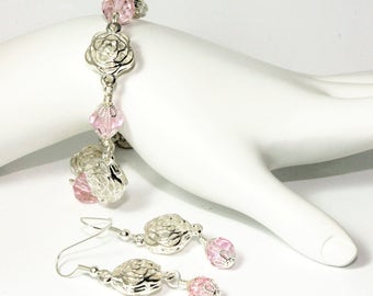 CLEARANCE Silver Plated Roses and Rose Pink Crystal Bracelet with Heart Charm with Matching Earrings