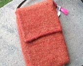 Golden Persimmon Recycled Silk and Felted Wool Cross Body Messenger Bag handmade in USA