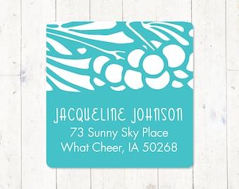 personalized return address LABEL - ART NOUVEAU floral - sticker - square label - set of 48 labels