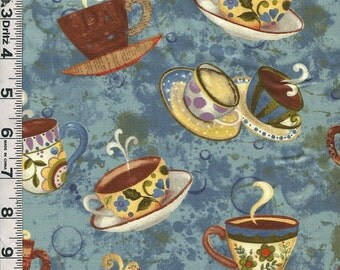 Fabric Clothworks Coffeehouse designed by Sue Zipkin  coffee cups toss on teal