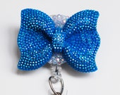 Turquoise Blue Glittery Bow ID Badge Reel - Retractable ID Badge Holder - Zipperedheart