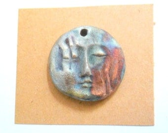 Raku Fired Clay Face Pendant Finding