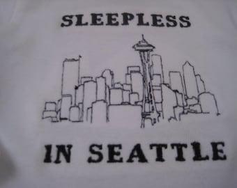 Sleepless in Seattle Baby Onesie - Embroidered Seattle Skyline - Fits 3-6 months
