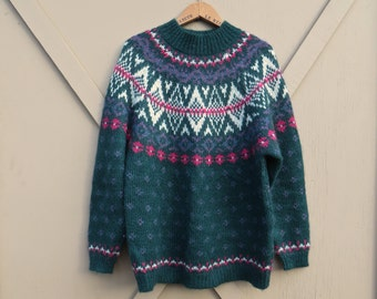 80s/90s vintage Northern Isles Colorful Fair Isle Hunter Green Mohair Blend Sweater