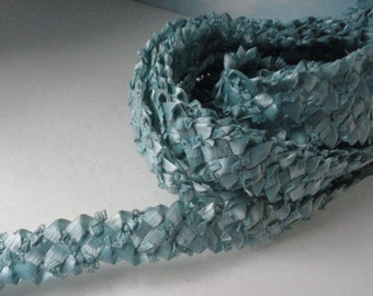 Vintage  Blue Color Raffia Ribbon, Millinery Trim for Hat Making. Made in Italy.