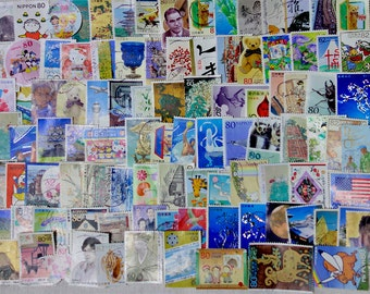 100 pcs - All different Japanese commemorative USED postage stamps