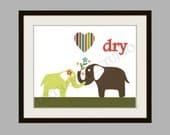Target Circo Elephant, Bathroom Art Print, Kids Room Decor, Child Art, 8x10 Art Print, Personalized,