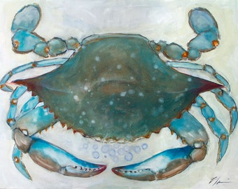 Big, Large Blue Crab, Coastal, Beach House, Seafood Original Painting by Clair Hartmann