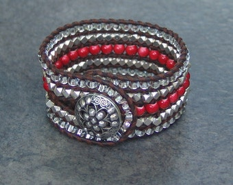 Cuff Bracelet - Red and Silver Bead - Decorative Silver Button Clasp