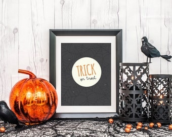Trick or Treat Printable Wall Decor Digital Print Black and White Orange Stripes Halloween Spooky Holiday October 8x10 instant download