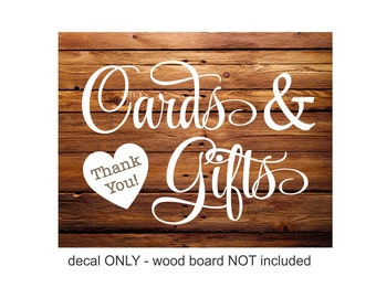 Wedding Sign Decals - Cards and Gifts - DIY wedding sign - vinyl decal - lettering for wedding gift table - vinyl decal only - cards & gifts