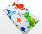 Dinosaur Light Switch Cover - Dinosaurs Switchplate - Boys Nursery Switch Plate - Green Blue Orange Dinosaurs - Boys Bedroom Decor