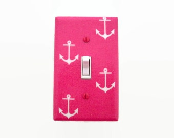 Anchors Switch Plate Cover - Girls Nautical Nursery Decor - Pink Light Switch Cover - Pink Nautical Nursery - Anchor Switch Plate