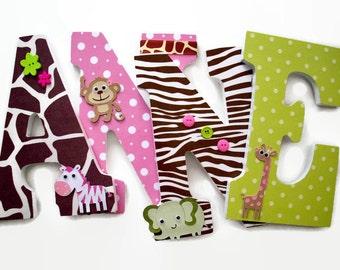 Jungle Nursery Letters -Jungle Jill Wood Letters - Girls Nursery Letters - Girls Wall Name Decor - Safari Giraffe Monkey Zebra Elephant