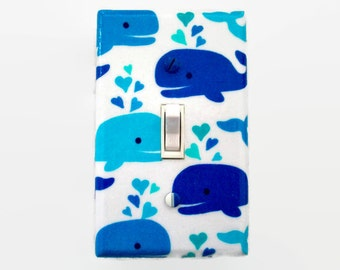Whale Switch Plate Cover - Whales Light Switch Cover - Blue Aqua Nautical Nursery - Childrens Bedroom - Outlet Cover - Whale Bathroom Decor