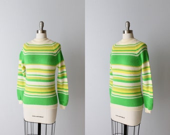 Vintage 1970s Turtleneck Striped Pullover Sweater / Zipper at Back / Lime