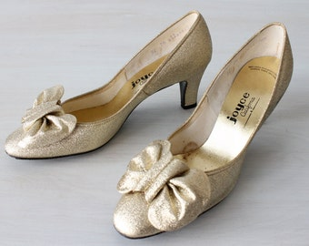 Vintage 1960s Gold Lame Pumps Highheel Shoes / Silver Shoes / Silver Heels / 60s Mod Shoes / Joyce of California / Size 7.5