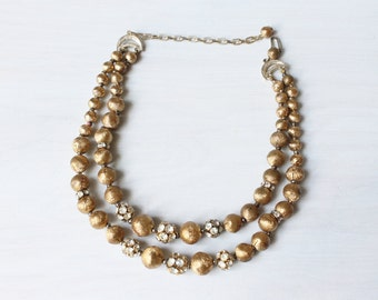 Gold Beaded Necklace / Multi Strand Necklace / Rhinstones / Shimmer