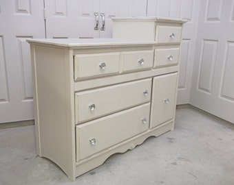 Changing Table Dresser, White Classic Cottage Style - Chic DR703 Shabby Farmhouse Chic, Chest, Nursery Furniture